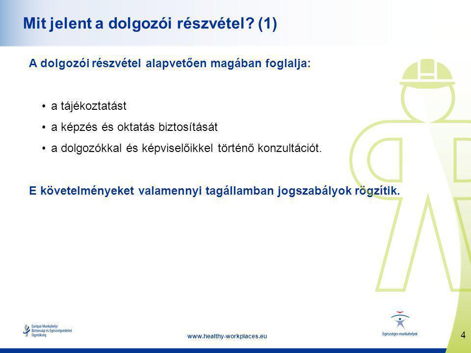 4 www.healthy-workplaces.eu Mit jelent a dolgozói részvétel.