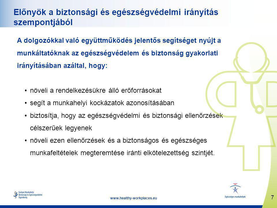 7 www.healthy-workplaces.eu Előnyök a biztonsági és egészségvédelmi irányítás szempontjából A dolgozókkal való együttműködés jelentős segítséget nyújt a munkáltatóknak az egészségvédelem és biztonság gyakorlati irányításában azáltal, hogy: •növeli a rendelkezésükre álló erőforrásokat •segít a munkahelyi kockázatok azonosításában •biztosítja, hogy az egészségvédelmi és biztonsági ellenőrzések célszerűek legyenek •növeli ezen ellenőrzések és a biztonságos és egészséges munkafeltételek megteremtése iránti elkötelezettség szintjét.