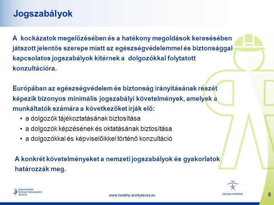 8 www.healthy-workplaces.eu Jogszabályok A kockázatok megelőzésében és a hatékony megoldások keresésében játszott jelentős szerepe miatt az egészségvédelemmel és biztonsággal kapcsolatos jogszabályok kitérnek a dolgozókkal folytatott konzultációra.