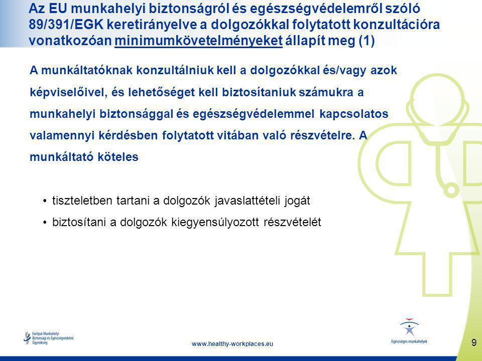 9 www.healthy-workplaces.eu Az EU munkahelyi biztonságról és egészségvédelemről szóló 89/391/EGK keretirányelve a dolgozókkal folytatott konzultációra vonatkozóan minimumkövetelményeket állapít meg (1) A munkáltatóknak konzultálniuk kell a dolgozókkal és/vagy azok képviselőivel, és lehetőséget kell biztosítaniuk számukra a munkahelyi biztonsággal és egészségvédelemmel kapcsolatos valamennyi kérdésben folytatott vitában való részvételre.
