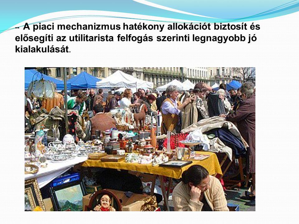 -- A piaci mechanizmus hatékony allokációt biztosít és elősegíti az utilitarista felfogás szerinti legnagyobb jó kialakulását.