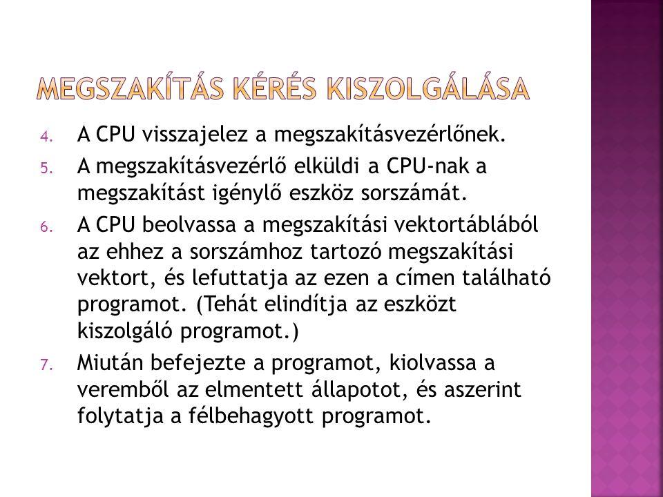  Maszkolás: ha a megszakításvezérlő a maszkolt megszakítási kérelmet lát, azt nem továbbítja a CPU felé - -nem kerül kiszolgálásra.