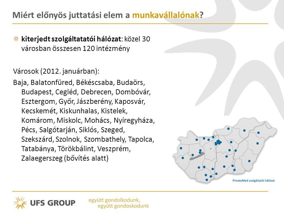 kiterjedt szolgáltatatói hálózat: közel 30 városban összesen 120 intézmény Városok (2012. januárban): Baja, Balatonfüred, Békéscsaba, Budaörs, Budapes