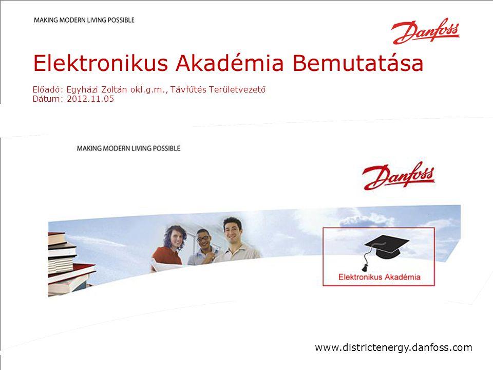 Confidential/Property of Danfoss District EnergyDanfoss District Energy DivisionDate| 1| 1 Elektronikus Akadémia Bemutatása Előadó: Egyházi Zoltán okl