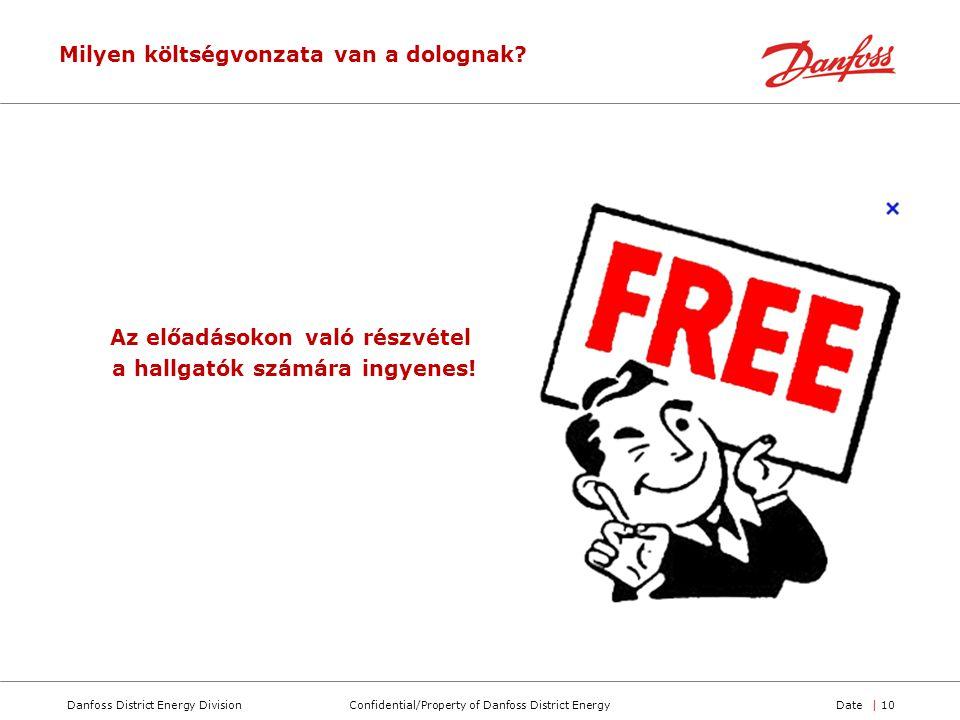 Confidential/Property of Danfoss District EnergyDanfoss District Energy DivisionDate| 10 Az előadásokon való részvétel a hallgatók számára ingyenes! M