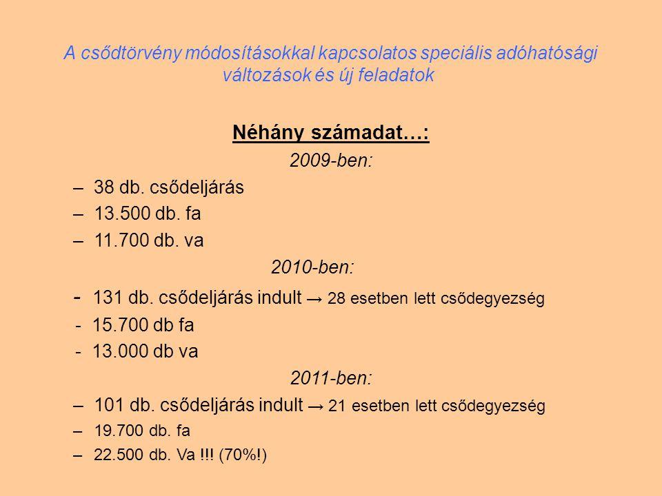 A csődtörvény módosításokkal kapcsolatos speciális adóhatósági változások és új feladatok Tevékenységét megszüntető gazdálkodó szervezetek / újonnan alakulók: 2009-ben: 21.947 megszűnt / 52.252 db alakult 2010-ben: 23.909 megszűnt / 53.602 db alakult 2011-ben is hasonló arány...