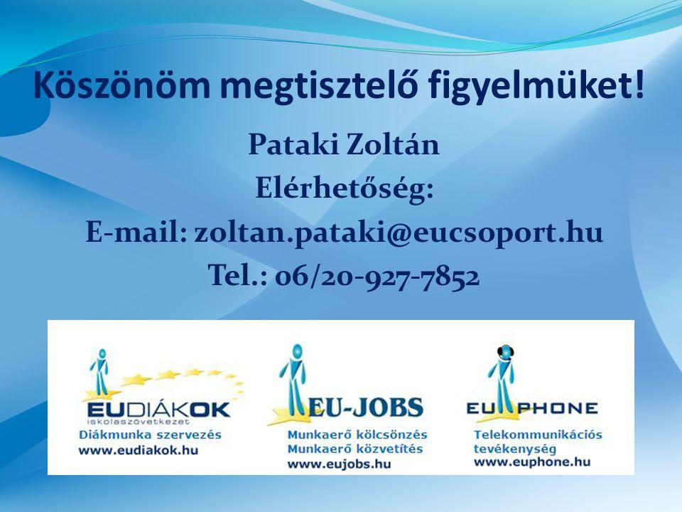 Köszönöm megtisztelő figyelmüket! Pataki Zoltán Elérhetőség: E-mail: zoltan.pataki@eucsoport.hu Tel.: 06/20-927-7852