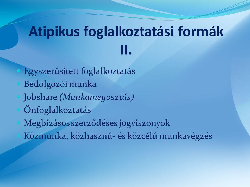 Atipikus foglalkoztatási formák II.  Egyszerűsített foglalkoztatás  Bedolgozói munka  Jobshare (Munkamegosztás)  Önfoglalkoztatás  Megbízásos sze