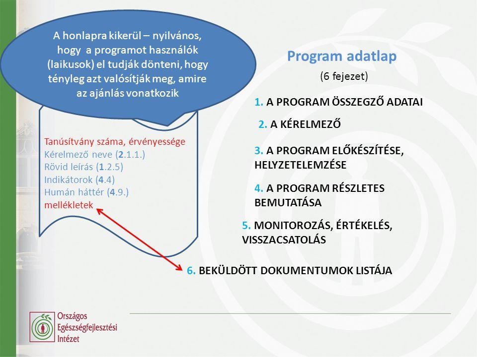 Tanúsítvány száma, érvényessége Kérelmező neve (2.1.1.) Rövid leírás (1.2.5) Indikátorok (4.4) Humán háttér (4.9.) mellékletek 1.
