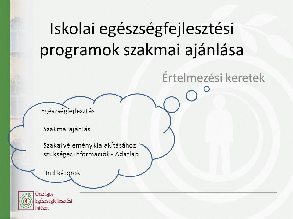 Iskolai egészségfejlesztési programok szakmai ajánlása Értelmezési keretek Egészségfejlesztés Szakmai ajánlás Szakai vélemény kialakításához szükséges információk - Adatlap Indikátorok