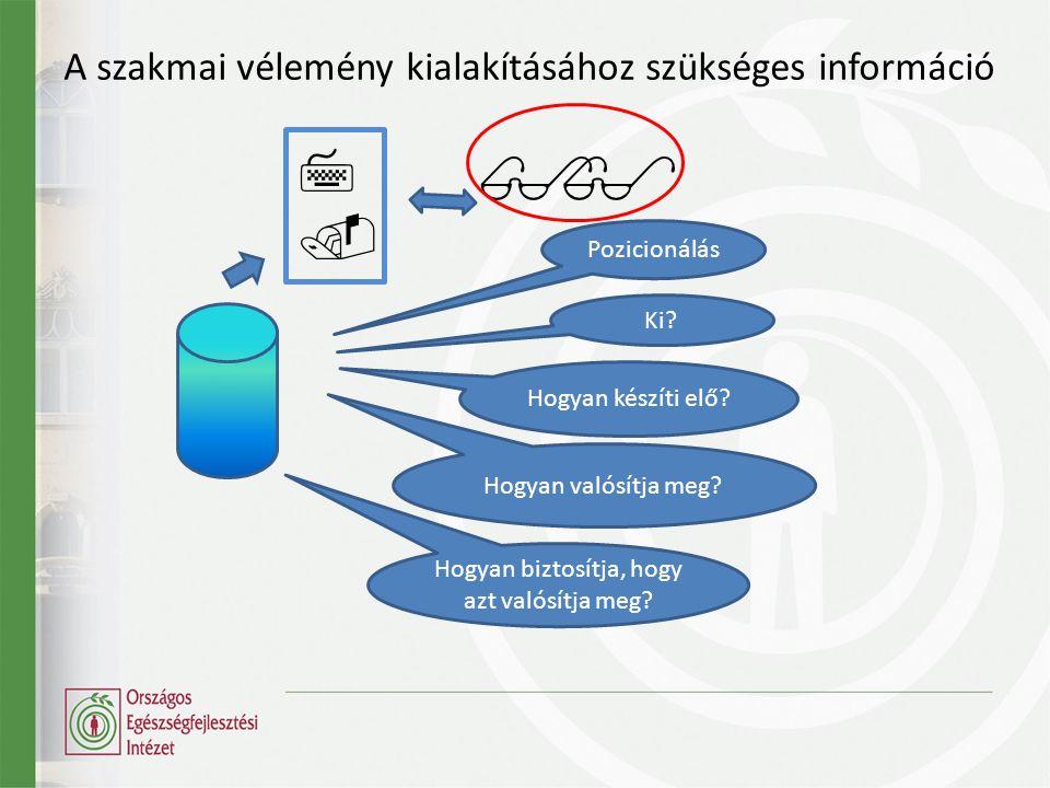 A szakmai vélemény kialakításához szükséges információ   Pozicionálás Ki.