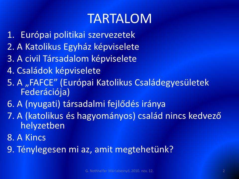 """TARTALOM 1.Európai politikai szervezetek 2. A Katolikus Egyház képviselete 3. A civil Társadalom képviselete 4. Családok képviselete 5. A """"FAFCE"""" (Eur"""