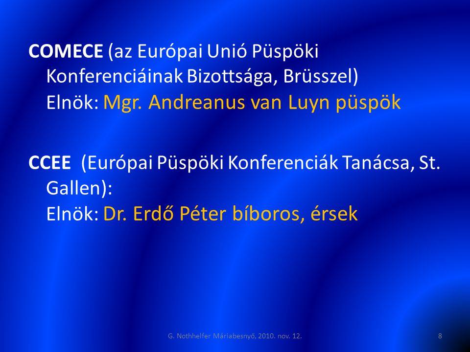 COMECE (az Európai Unió Püspöki Konferenciáinak Bizottsága, Brüsszel) Elnök: Mgr. Andreanus van Luyn püspök CCEE (Európai Püspöki Konferenciák Tanácsa