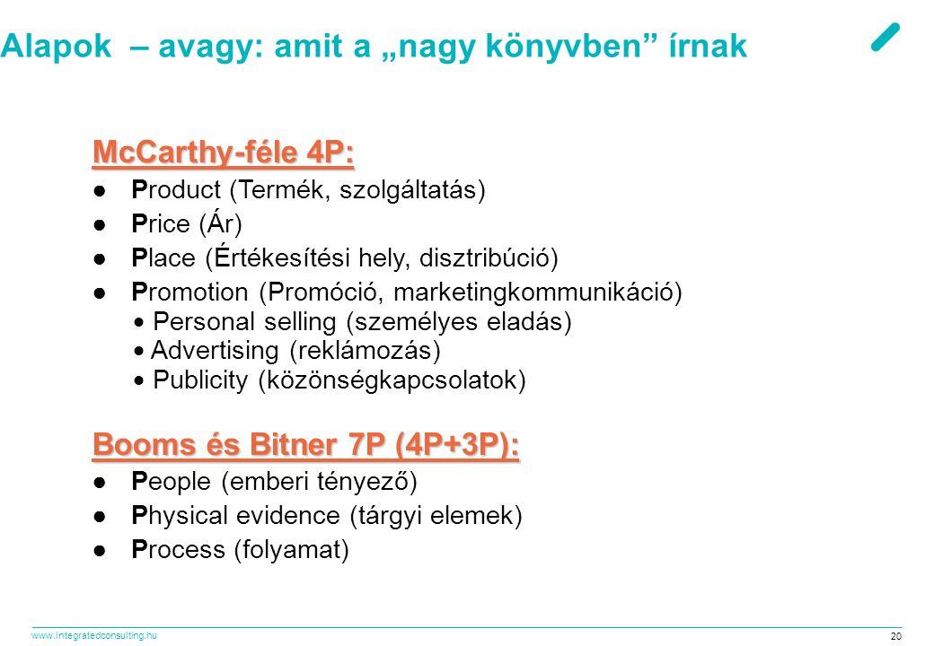 """www.integratedconsulting.hu 20 Alapok – avagy: amit a """"nagy könyvben"""" írnak McCarthy-féle 4P: ● Product (Termék, szolgáltatás) ● Price (Ár) ● Place (É"""