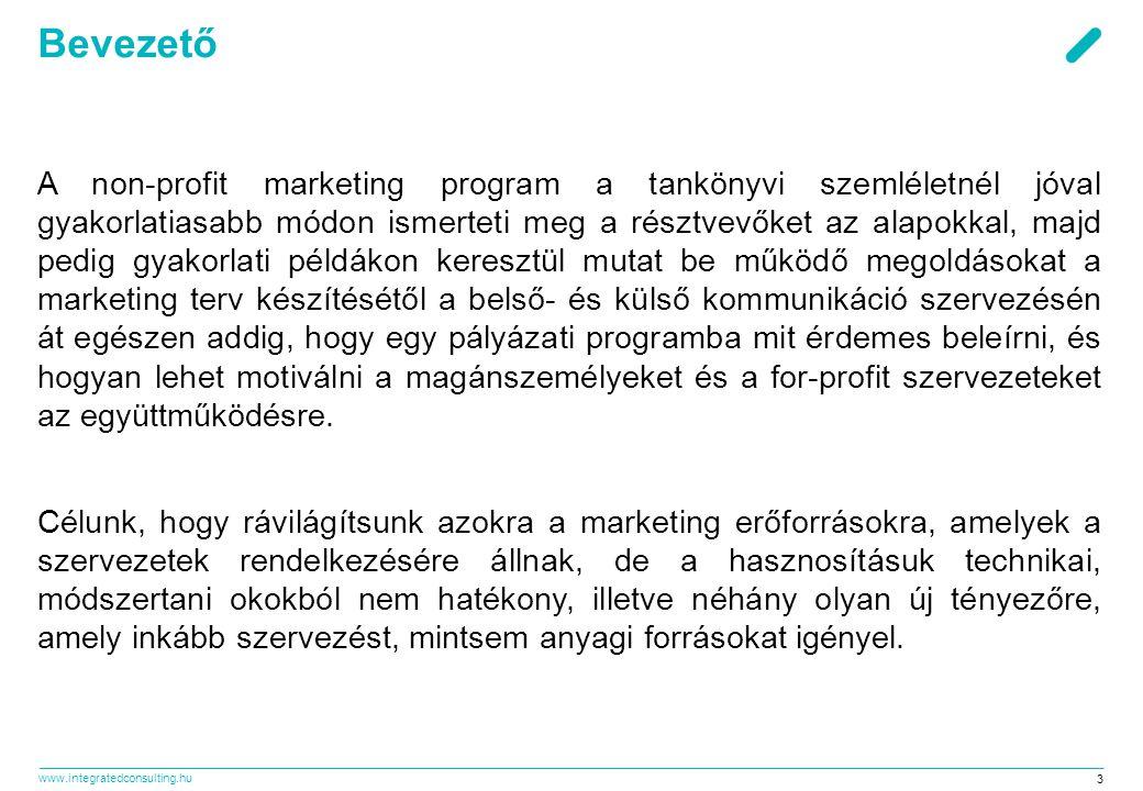 www.integratedconsulting.hu 3 Bevezető A non-profit marketing program a tankönyvi szemléletnél jóval gyakorlatiasabb módon ismerteti meg a résztvevőke