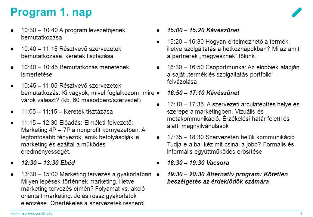 www.integratedconsulting.hu 4 Program 1. nap ●10:30 – 10:40 A program levezetőjének bemutatkozása ●10:40 – 11:15 Résztvevő szervezetek bemutatkozása,
