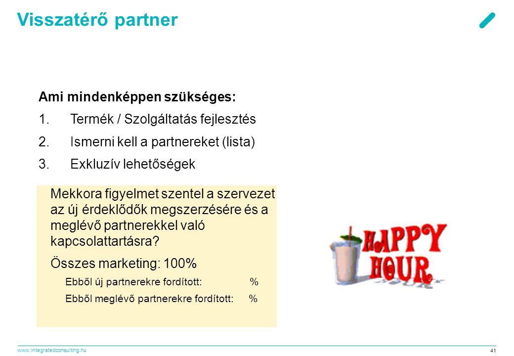 www.integratedconsulting.hu 41 Visszatérő partner Ami mindenképpen szükséges: 1.Termék / Szolgáltatás fejlesztés 2.Ismerni kell a partnereket (lista)