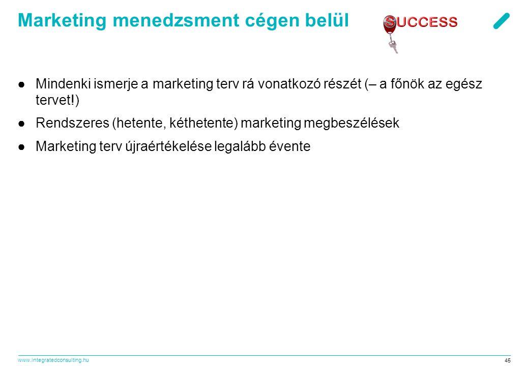 www.integratedconsulting.hu 45 Marketing menedzsment cégen belül ●Mindenki ismerje a marketing terv rá vonatkozó részét (– a főnök az egész tervet!) ●
