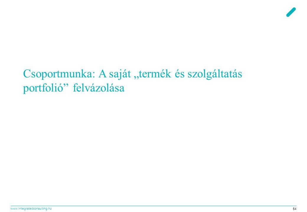 """www.integratedconsulting.hu 54 Csoportmunka: A saját """"termék és szolgáltatás portfolió"""" felvázolása"""