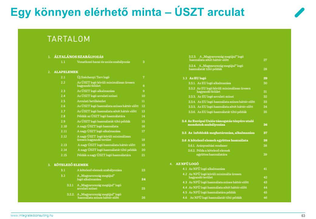 www.integratedconsulting.hu 63 Egy könnyen elérhető minta – ÚSZT arculat