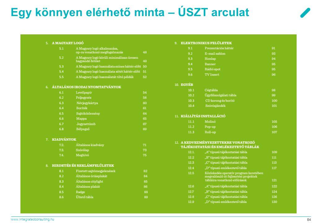 www.integratedconsulting.hu 64 Egy könnyen elérhető minta – ÚSZT arculat