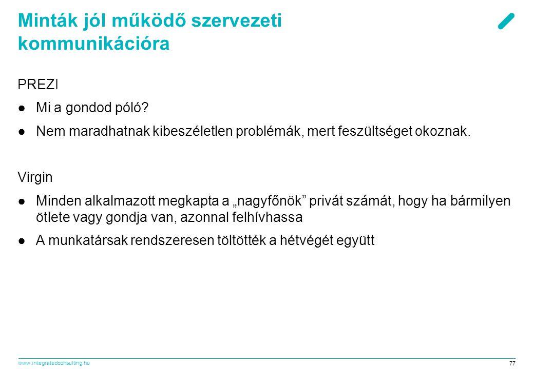 www.integratedconsulting.hu 77 Minták jól működő szervezeti kommunikációra PREZI ●Mi a gondod póló? ●Nem maradhatnak kibeszéletlen problémák, mert fes