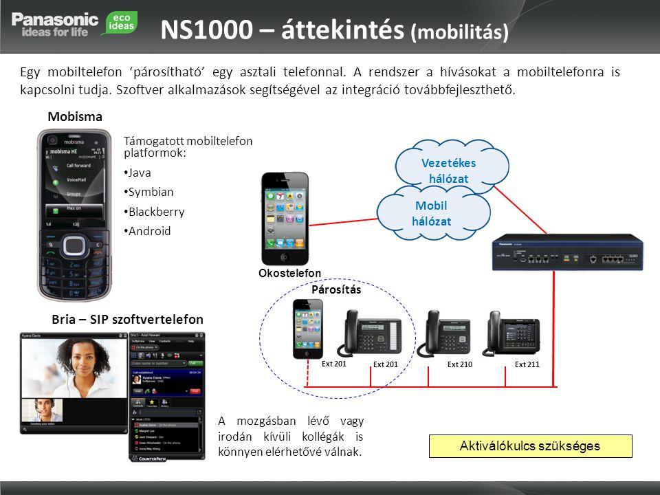 NS1000 – áttekintés (mobilitás) Egy mobiltelefon 'párosítható' egy asztali telefonnal. A rendszer a hívásokat a mobiltelefonra is kapcsolni tudja. Szo