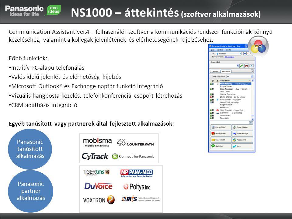 NS1000 – áttekintés (szoftver alkalmazások) Communication Assistant ver.4 – felhasználói szoftver a kommunikációs rendszer funkcióinak könnyű kezeléséhez, valamint a kollégák jelenlétének és elérhetőségének kijelzéséhez.