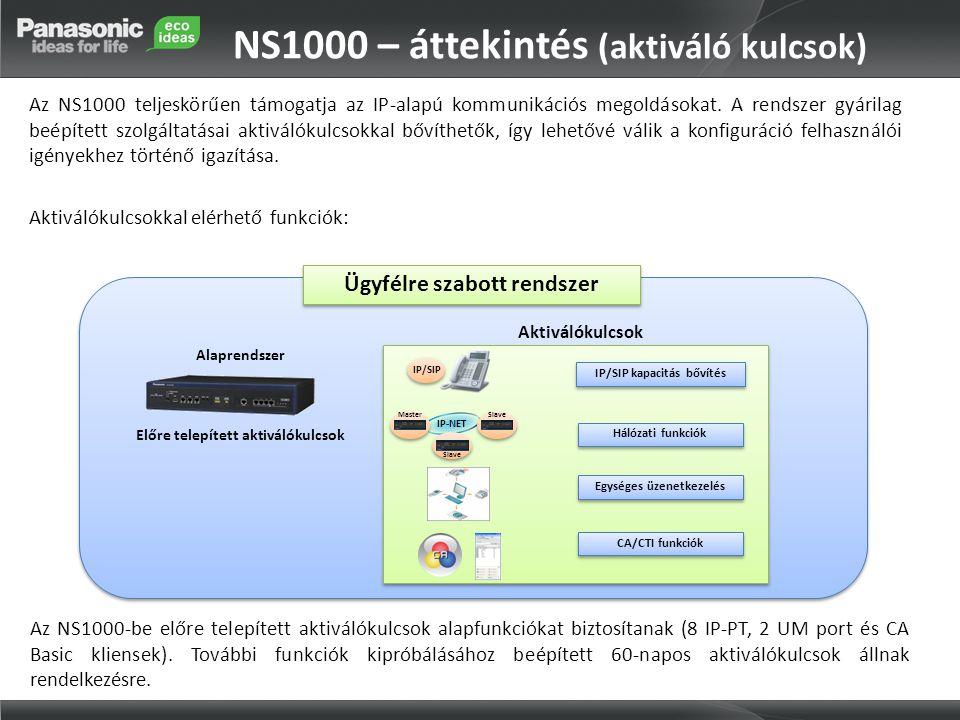 NS1000 – áttekintés (aktiváló kulcsok) Az NS1000 teljeskörűen támogatja az IP-alapú kommunikációs megoldásokat. A rendszer gyárilag beépített szolgált