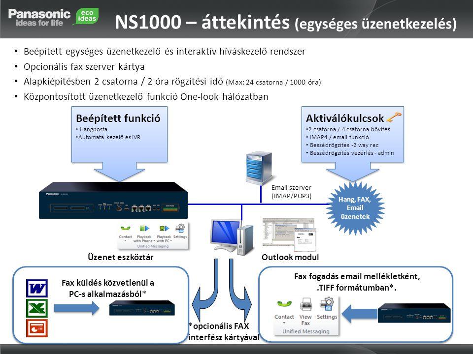 NS1000 – áttekintés (egységes üzenetkezelés) • Beépített egységes üzenetkezelő és interaktív híváskezelő rendszer • Opcionális fax szerver kártya • Alapkiépítésben 2 csatorna / 2 óra rögzítési idő (Max: 24 csatorna / 1000 óra) • Központosított üzenetkezelő funkció One-look hálózatban Aktiválókulcsok • 2 csatorna / 4 csatorna bővítés • IMAP4 / email funkció • Beszédrögzítés -2 way rec • Beszédrögzítés vezérlés - admin Aktiválókulcsok • 2 csatorna / 4 csatorna bővítés • IMAP4 / email funkció • Beszédrögzítés -2 way rec • Beszédrögzítés vezérlés - admin Email szerver (IMAP/POP3) Üzenet eszköztár Beépített funkció • Hangposta • Automata kezelő és IVR Beépített funkció • Hangposta • Automata kezelő és IVR Hang, FAX, Email üzenetek Fax fogadás email mellékletként,.TIFF formátumban*.