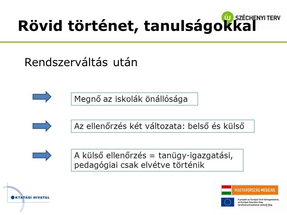 10 Rendszerváltás után Megnő az iskolák önállósága Az ellenőrzés két változata: belső és külső A külső ellenőrzés = tanügy-igazgatási, pedagógiai csak