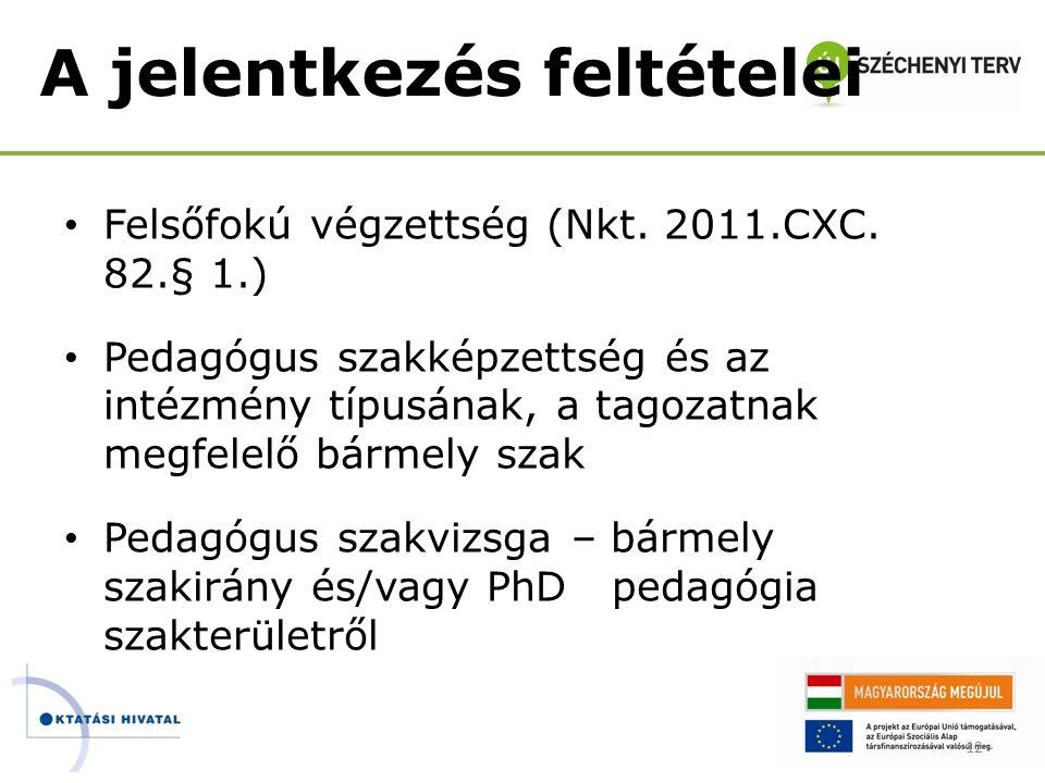 A jelentkezés feltételei • Felsőfokú végzettség (Nkt. 2011.CXC. 82.§ 1.) • Pedagógus szakképzettség és az intézmény típusának, a tagozatnak megfelelő