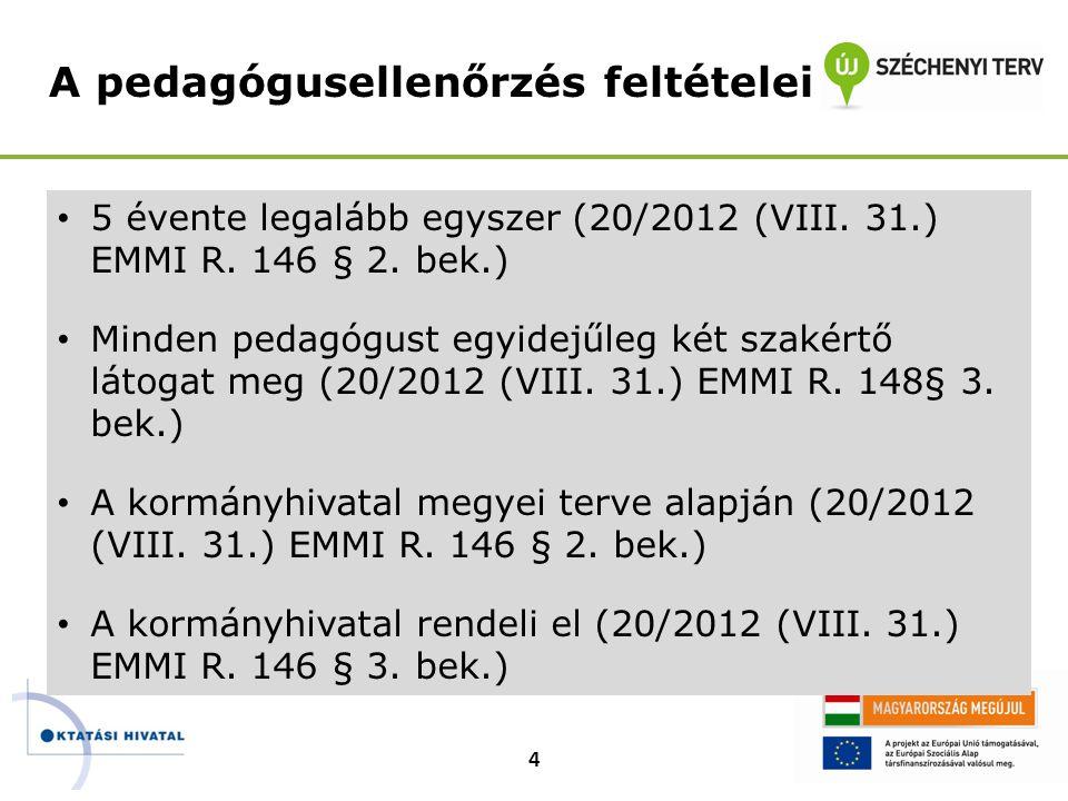 • 5 évente legalább egyszer (20/2012 (VIII. 31.) EMMI R. 146 § 2. bek.) • Minden pedagógust egyidejűleg két szakértő látogat meg (20/2012 (VIII. 31.)