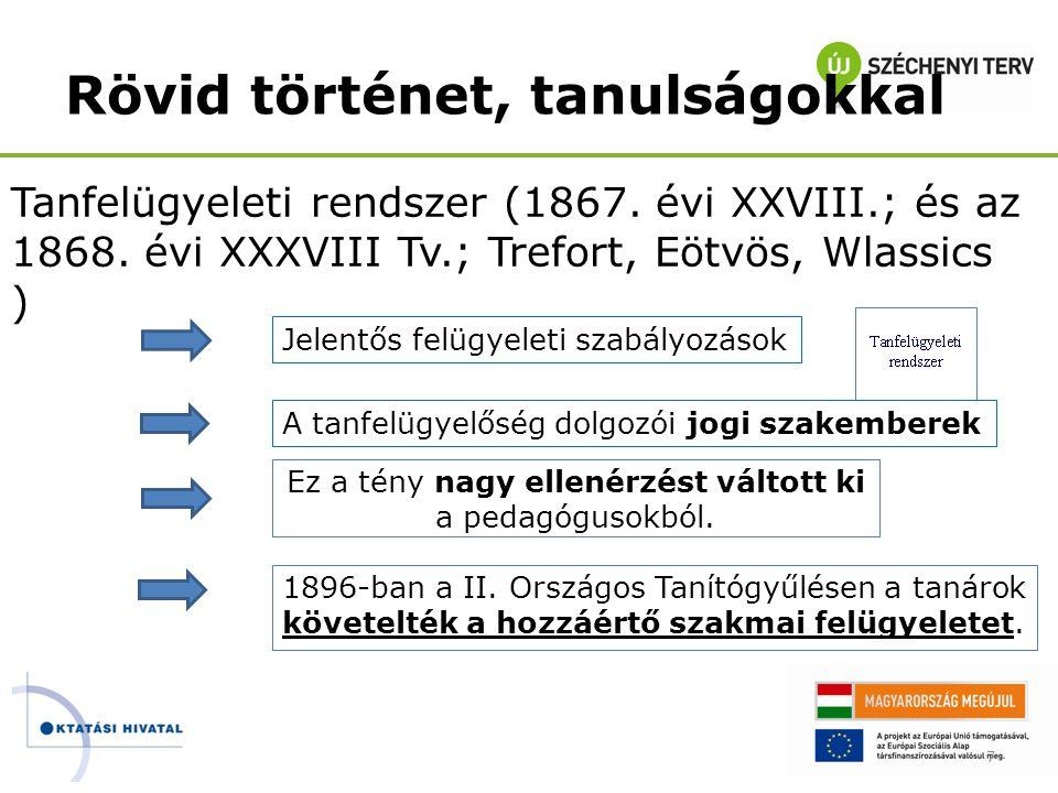 Tanfelügyeleti rendszer (1867. évi XXVIII.; és az 1868. évi XXXVIII Tv.; Trefort, Eötvös, Wlassics ) 7 Jelentős felügyeleti szabályozások A tanfelügye