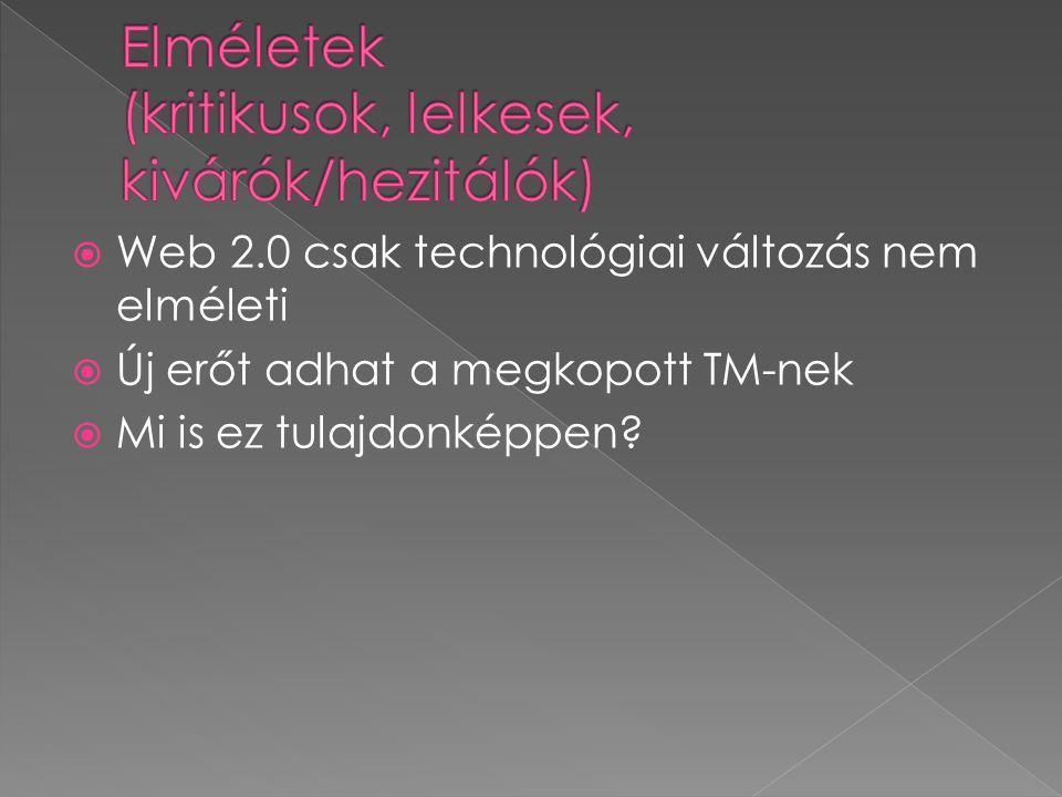  Web 2.0 csak technológiai változás nem elméleti  Új erőt adhat a megkopott TM-nek  Mi is ez tulajdonképpen?