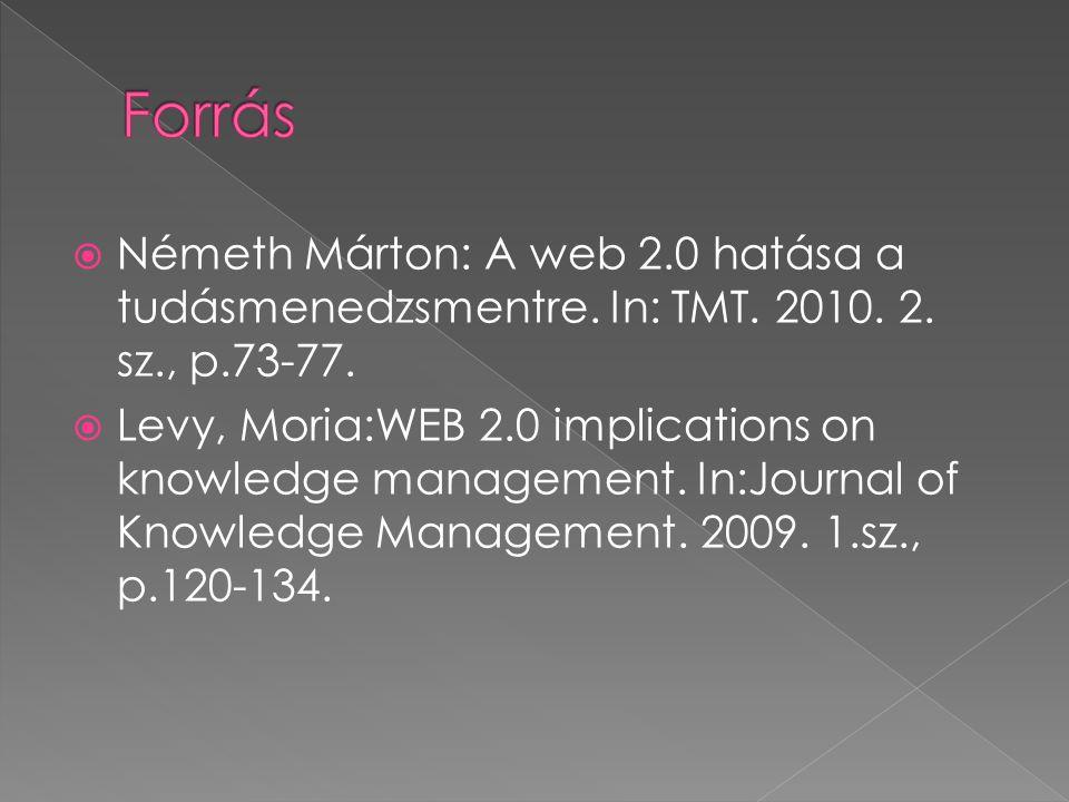  Németh Márton: A web 2.0 hatása a tudásmenedzsmentre.