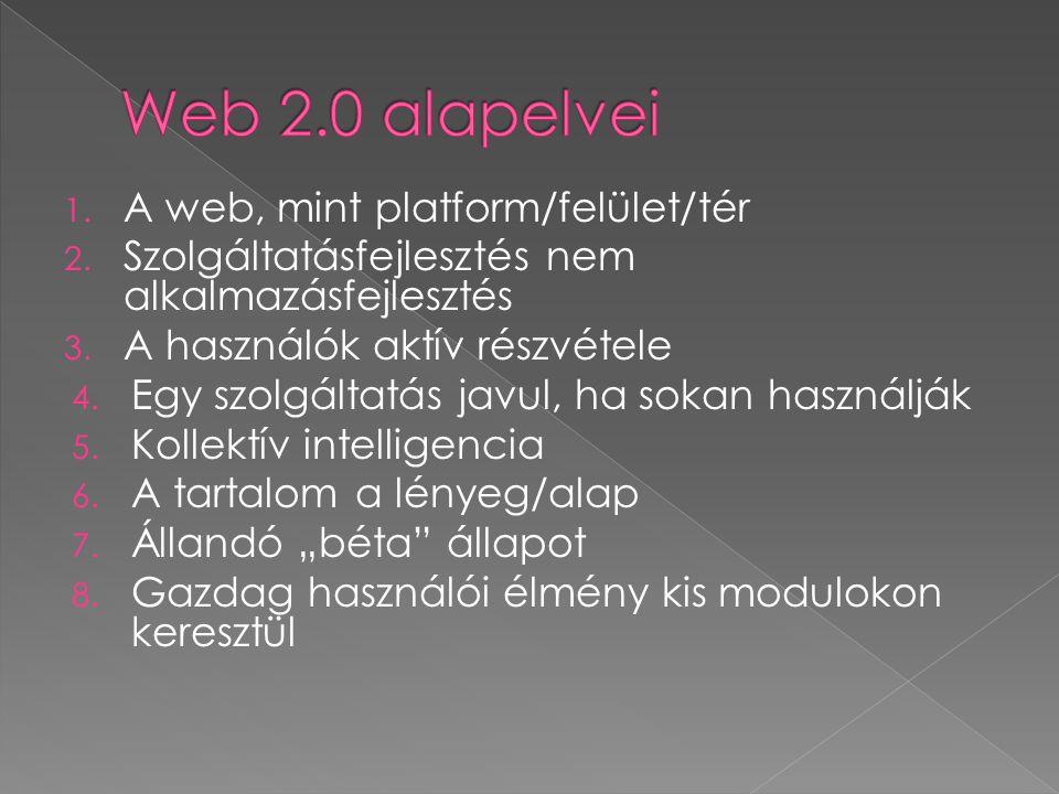1.A web, mint platform/felület/tér 2. Szolgáltatásfejlesztés nem alkalmazásfejlesztés 3.