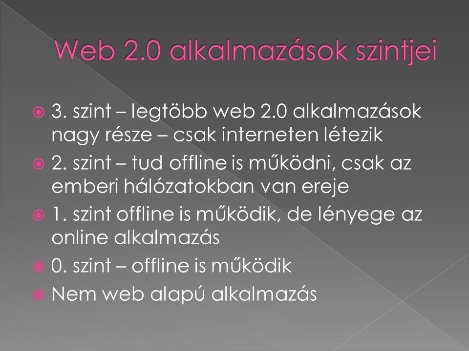  3.szint – legtöbb web 2.0 alkalmazások nagy része – csak interneten létezik  2.