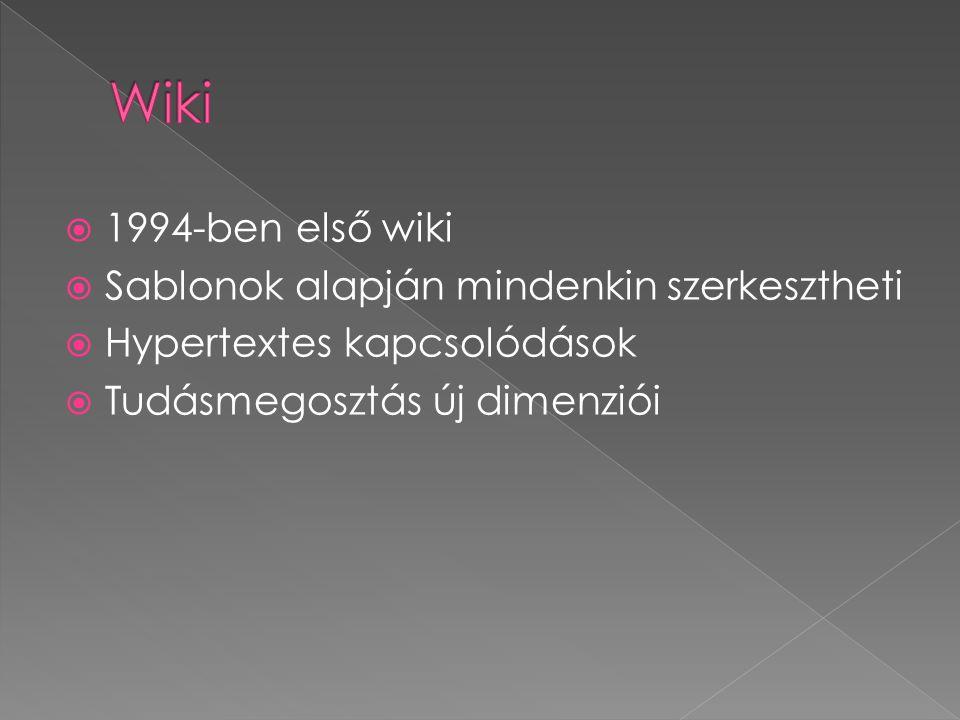  1994-ben első wiki  Sablonok alapján mindenkin szerkesztheti  Hypertextes kapcsolódások  Tudásmegosztás új dimenziói