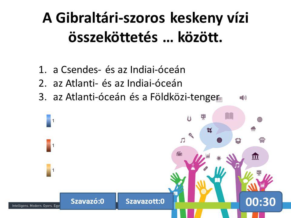 A Gibraltári-szoros keskeny vízi összeköttetés … között. 00:30 Szavazott:0Szavazó:0 1.a Csendes- és az Indiai-óceán 2.az Atlanti- és az Indiai-óceán 3