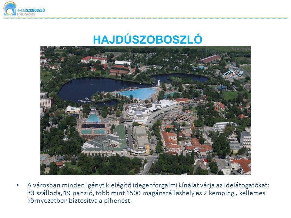HAJDÚSZOBOSZLÓ • A városban minden igényt kielégítő idegenforgalmi kínálat várja az idelátogatókat: 33 szálloda, 19 panzió, több mint 1500 magánszálláshely és 2 kemping, kellemes környezetben biztosítva a pihenést.