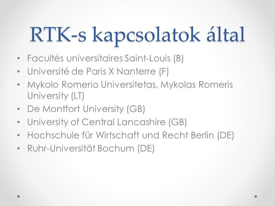 RTK-s kapcsolatok által • Facultés universitaires Saint-Louis (B) • Université de Paris X Nanterre (F) • Mykolo Romerio Universitetas, Mykolas Romeris