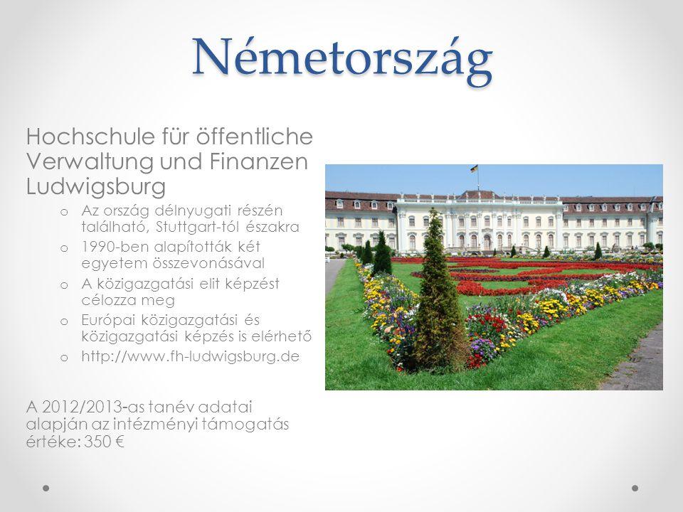 Németország Hochschule für öffentliche Verwaltung und Finanzen Ludwigsburg o Az ország délnyugati részén található, Stuttgart-tól északra o 1990-ben a