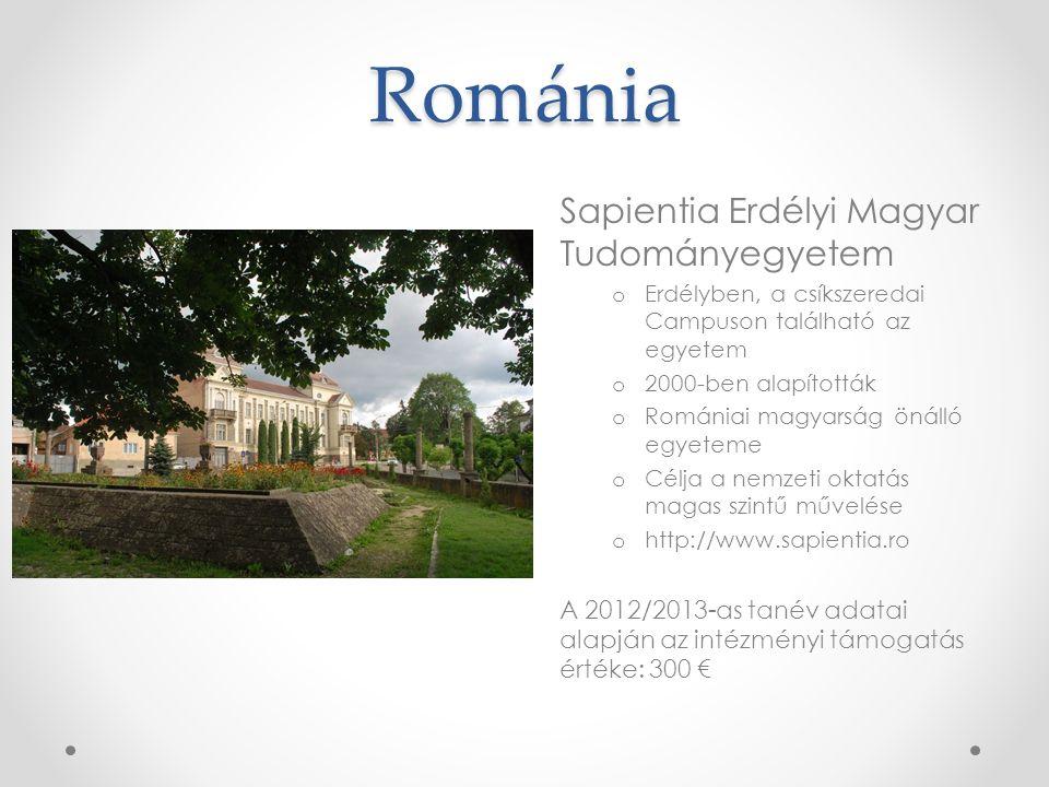 Románia Sapientia Erdélyi Magyar Tudományegyetem o Erdélyben, a csíkszeredai Campuson található az egyetem o 2000-ben alapították o Romániai magyarság