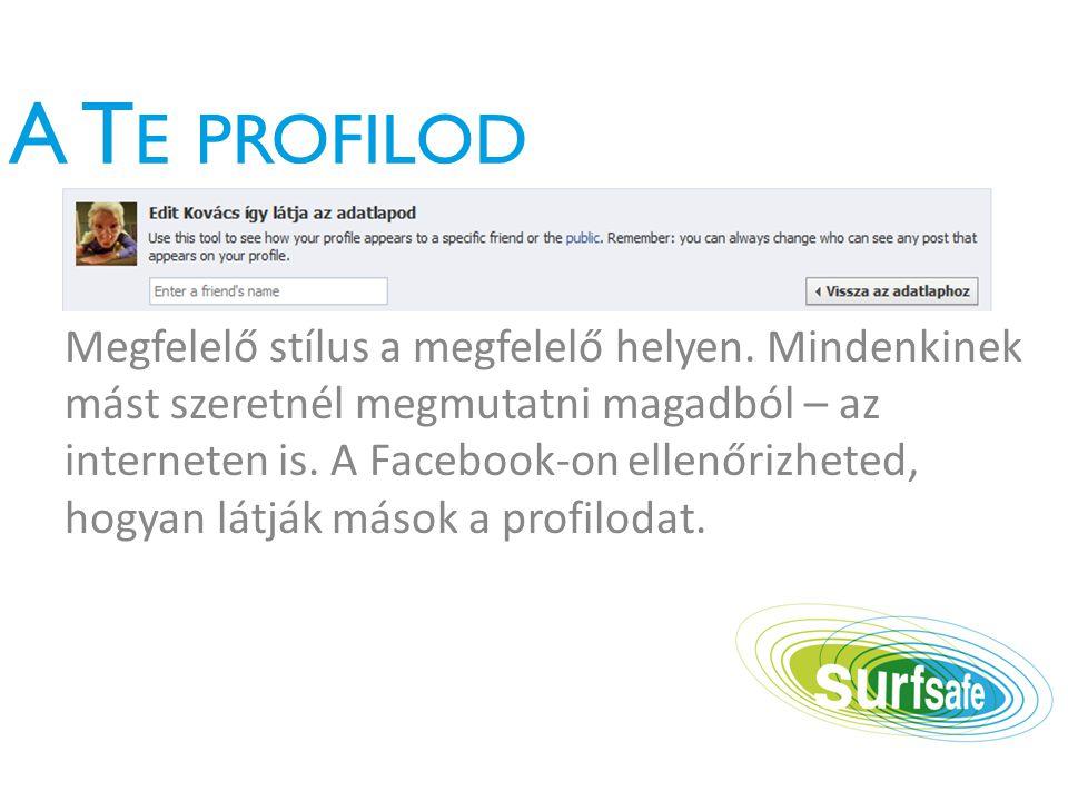 A T E PROFILOD Megfelelő stílus a megfelelő helyen.