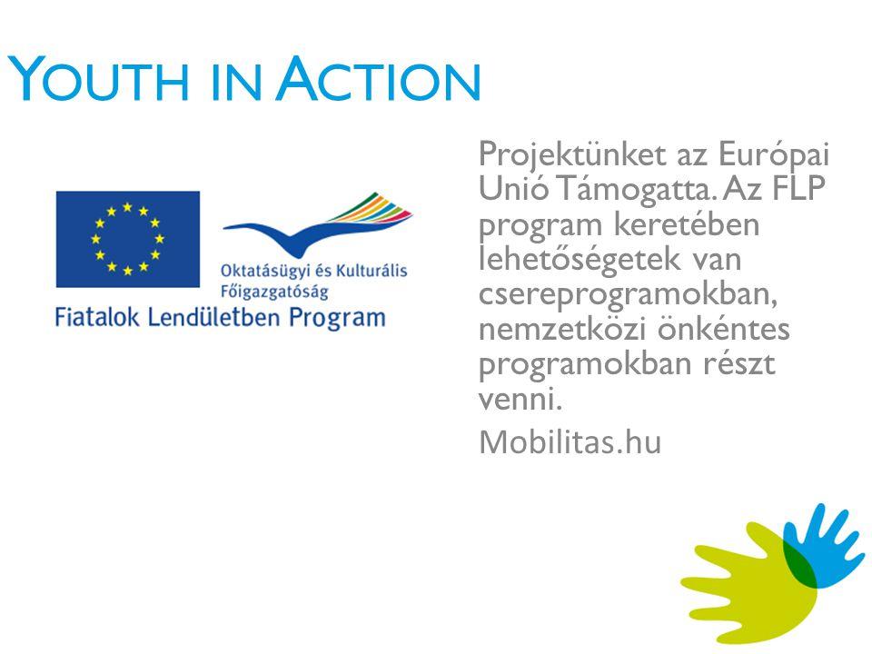 Y OUTH IN A CTION Projektünket az Európai Unió Támogatta.