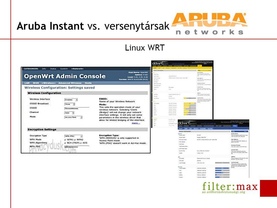Aruba Instant vs. versenytársak Linux WRT
