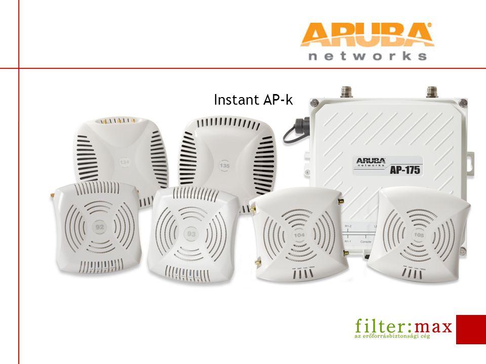 Instant AP előnyök Vállalati szolgáltatások, egyszerűség és megfizethetőség  Virtual Controller technológia  nincs szükség külön, hardveres kontrollerre  Egyszerű telepítés  Over-the-air konfiguráció és Auto join(meshen keresztül is)  Egyszerű menedzsment és monitorozás  AirWave segítségével központilag menedzselhető több IAP hálózat  Adaptív rádió menedzsment (ARM)  automatikus rádió menedzsment a legjobb minőségért