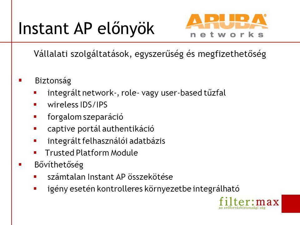 Instant AP előnyök Vállalati szolgáltatások, egyszerűség és megfizethetőség  Biztonság  integrált network-, role- vagy user-based tűzfal  wireless