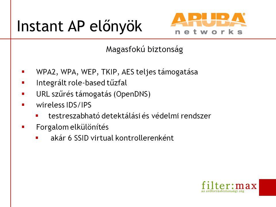 Magasfokú biztonság  WPA2, WPA, WEP, TKIP, AES teljes támogatása  Integrált role-based tűzfal  URL szűrés támogatás (OpenDNS)  wireless IDS/IPS 